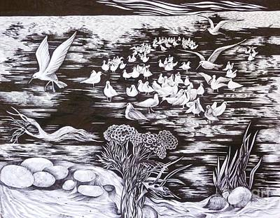 Poster featuring the drawing Bow River by Anna  Duyunova