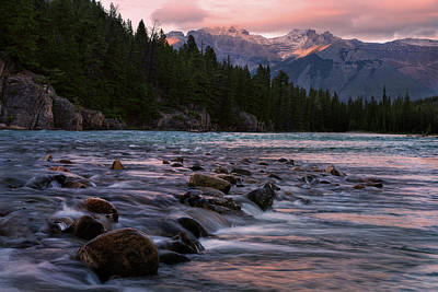 Poster featuring the photograph Bow River Sunset Reflections by Dave Dilli