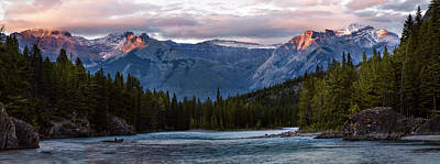 Poster featuring the photograph Bow River Sunset Reflections Panorama by Dave Dilli