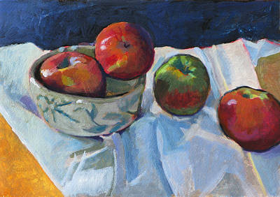 Bowl Of Apples Poster by Robert Bissett