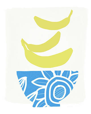 Bowl Of Bananas- Art By Linda Woods Poster by Linda Woods