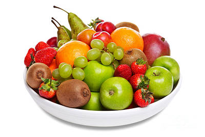 Bowl Of Fresh Fruit Isolated On White Poster