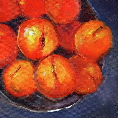Poster featuring the painting Bowl Of Peaches Still Life by Nancy Merkle