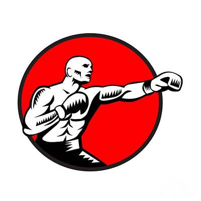 Boxer Jabbing Punching Circle Woodcut Poster by Aloysius Patrimonio