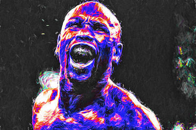 Boxing Floyd Money Mayweather Painted Poster by David Haskett