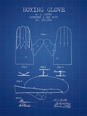 Boxing Glove Patent From 1878 - Blueprint Poster by Aged Pixel