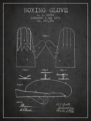 Boxing Glove Patent From 1878 - Charcoal Poster by Aged Pixel