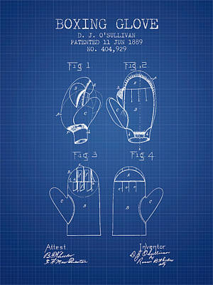 Boxing Glove Patent From 1889 - Blueprint Poster by Aged Pixel