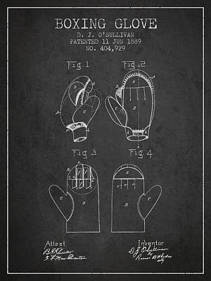 Boxing Glove Patent From 1889 - Charcoal Poster by Aged Pixel