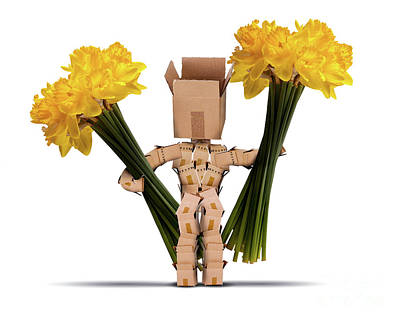 Boxman Holding Large Bunches Of Daffodils Poster by Simon Bratt Photography LRPS