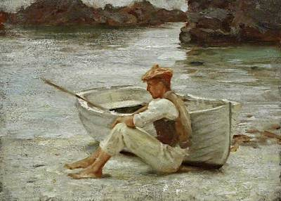 Poster featuring the painting Boy And Boat  by Henry Scott Tuke