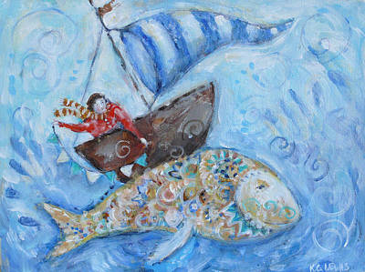 Boy And Sunfish Poster by Katherine Lewis
