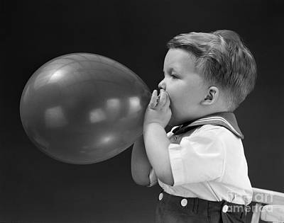 Boy Blowing Up Balloon, C.1940s Poster