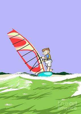 Boy Doing Windsurfing On A Light Blue Windsurf Board With A Red Sail Poster