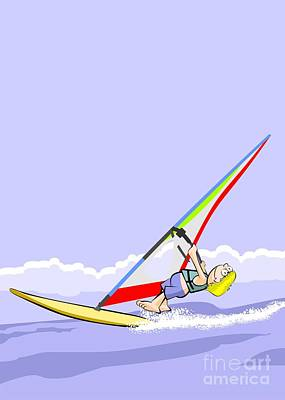 Boy Doing Windsurfing Sailing Fast By The Ocean Poster