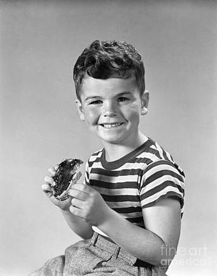 Boy Eating Bread And Jam, C.1940s Poster
