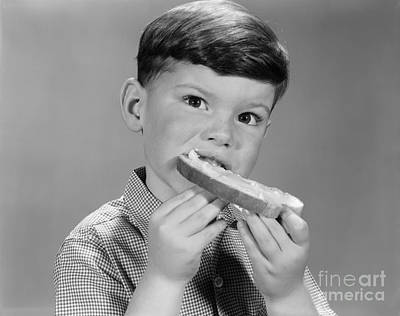 Boy Eating Buttered Bread, C.1960s Poster
