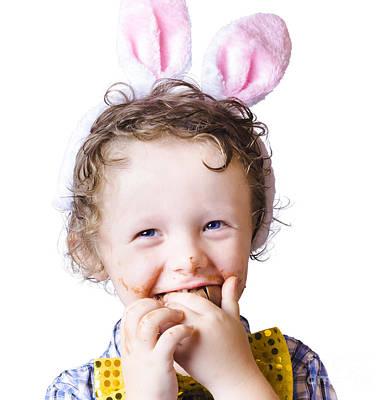 Boy Eating Easter Egg Poster