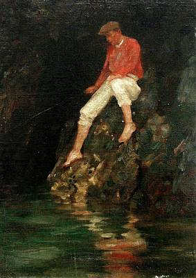 Poster featuring the painting Boy Fishing On Rocks  by Henry Scott Tuke