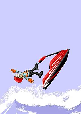 Boy Having Fun Jumping And Falling In The Ocean On A Jet Ski Poster