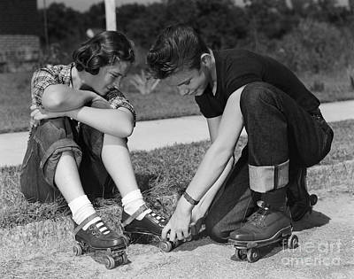 Boy Helping Girl With Roller Skates Poster