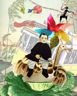 Boy In The Wind Poster by Bernie's  Art Prints