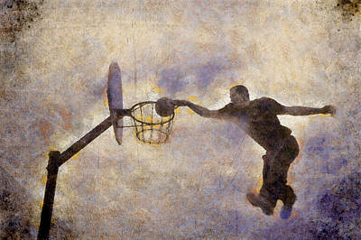 Digital Painting About A Young Boy Who Is Playing Acrobat Basketball At Sport Choosen Day. Poster by Akos Horvath