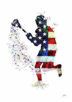 Boy Lacrosse Player Sports Print Flag Of The United States Watercolor Print Boy's Lacrosse Art Poster