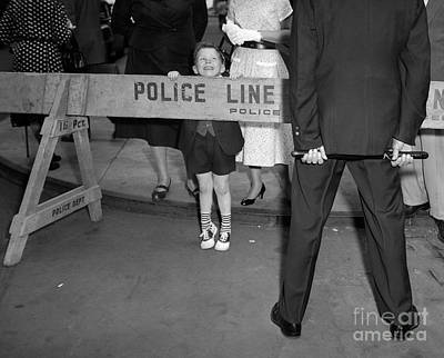 Boy Looking Over Police Line Poster