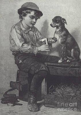 Boy Mends Dog's Leg Poster