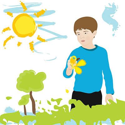 Boy Painting Summer Scene Poster
