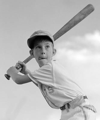 Boy Playing Baseball, C.1960s Poster