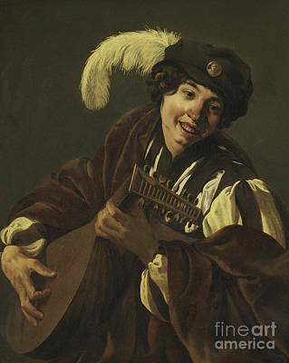 Boy Playing The Lute Poster