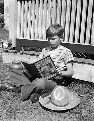 Boy Reading Outside, C.1940s Poster