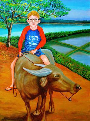 Boy Riding A Carabao Poster by Cyril Maza