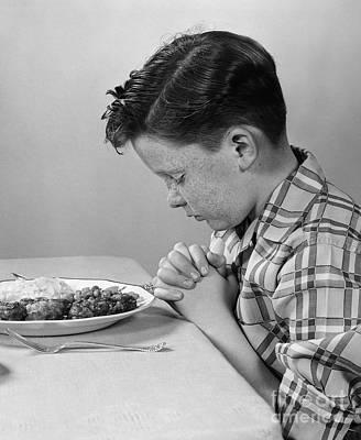 Boy Saying Grace, C.1950s Poster