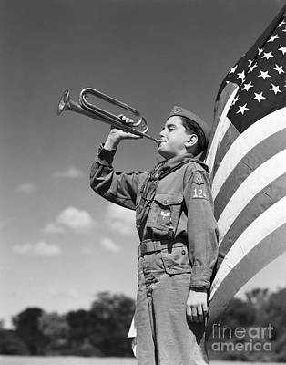 Boy Scout Blowing Bugle, C.1950s Poster by H. Armstrong Roberts/ClassicStock