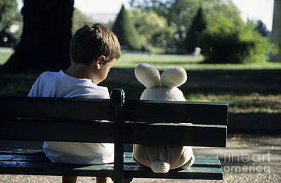 Boy Sitting On Park Bench With Teddy Bear Poster by Sami Sarkis