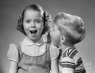 Boy Whispering In Girls Ear, C.1950s Poster