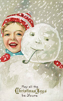 Boy With A Snowman Poster by American School