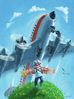 Boy With Airplane On Hilltop Poster