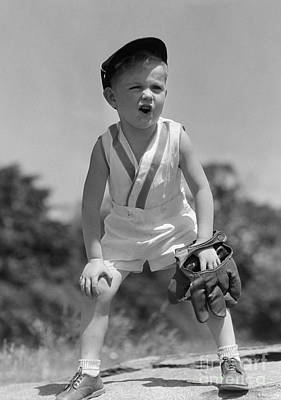 Boy With Baseball Cap And Mitt Yelling Poster by H. Armstrong Roberts/ClassicStock