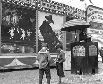 Boys At Circus Entrance, C.1920s Poster