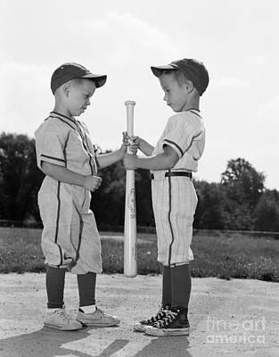 Boys Choosing Sides In Baseball Game Poster