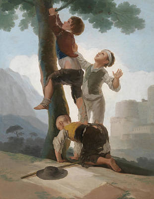 Boys Climbing Up A Tree Poster by Francisco Goya