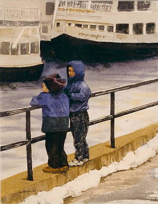 Poster featuring the painting Boys N Boats by Lynn Babineau