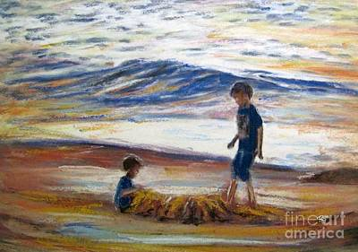 Boys Playing At The Beach Poster