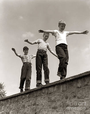Boys Walking On Wall, C.1950s Poster