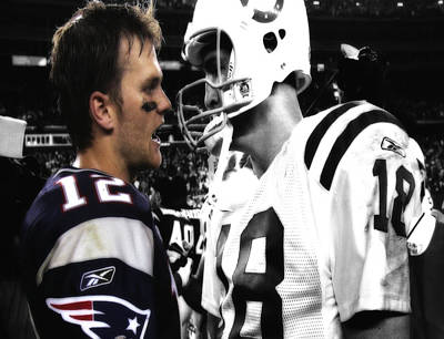 Brady And Manning Stare Down Poster by Brian Reaves