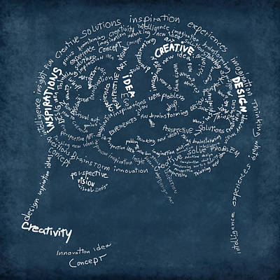 Brain Drawing On Chalkboard Poster